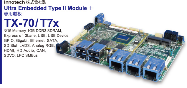 Innotech株式會社製 Ultra Embedded Type II Module + 專用載板 TX-70/T7x