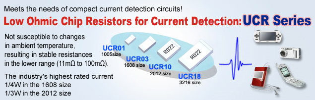 Low Ohmic Chip Resistors for Current Detection: UCR Series Not susceptible to changes in ambient temperature, resulting in stable resistances in the lower range (11m to 100m). The industry's highest rated current 1/4W in the 1608 size 1/3W in the 2012 size